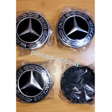 4x Logo Emblème Mercedes 75mm Jante Cache Moyeu Centre De Roue Insigne NOIR NEUF