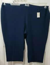 Terra & Sky Women's Knit Capri leggings pants Pockets 2 Blue Plus Size X5