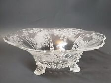 VINTAGE ETCHED FLOWERS GLASS FOOTED LARGE BOWL ANTIQUE COLLECTIBLE GLASSWARE