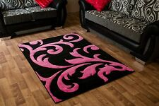 Modern Black Pink Large 3d Design Rugs All Floors Non Allergenic 160x230 Cm Rug