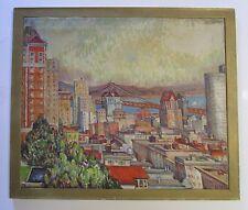 LARGE VINTAGE SAN FRANCISCO CALIFORNIA PAINTING MID CENTURY CITYSCAPE MODERN