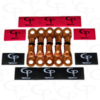 (10) 2/0 AWG Gauge Copper Lugs w/ RED & BLACK Heat Shrink Ring Terminals