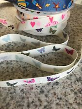 PRETTY BUTTERFLY PRINT RIBBON, CHILDRENS CRAFTS, SEWING ,GIRLS