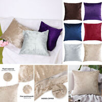 Large Plain Crushed Velvet Cushion Color Pillowcase Home Sofa Decor Cover Solid