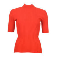 DVF DIANE VON FURSTENBERG Jumper Red Ribbed Stretch RRP £179 BG