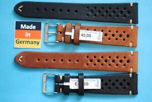 Action Racing Bracelet Montre 18,19,20,22mm Beige ,Olive, Braun, Noir À Trous