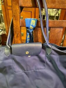 Authentic Longchamp Le Pliage Shoulder Tote - Medium -Royal Blue - Nylon/Leather