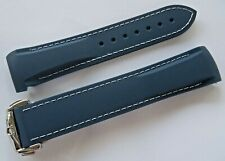 20MM RUBBER STRAP NAVY & WH & DEPLOYMENT CLASP for 42mm OMEGA PLANET OCEAN 600