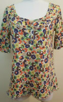 Ann Taylor LOFT Boho Henley T-Shirt Blue Green Brown Yellow Floral SZ Large.//M