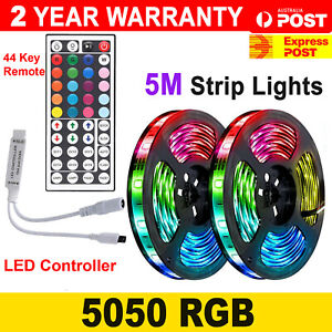 5050 RGB LED Strip Lights 5M IP65 Waterproof 12V+ 44 KEY Remote IR CONTROLLER AU