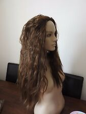 medium brown wavy curly frizzy puffy 3/4 half head long hair wig fancy dress