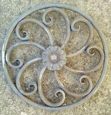 Wrought Iron Gate Rosette Flower Components 300mm Diameter Decorative Steel