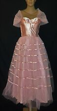 1950s Vintage Pink Satin Tulle Strapless Shelf Bust Party Prom Dress - XS/S