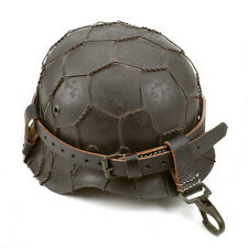 GERMAN WW2 Black Leather Helmet Carry Strap with Metal Clips (Helmet Strap Only)