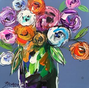 Broadway Original Abstract Acrylic Floral flowers painting 3x3 in.