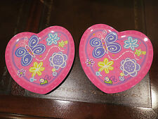 Kids Butterfly Heart PLATES Childrens Plate Purple Pink Childs Set =2