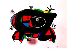 A Rare Joan Miro Orig. Color Lithograph Signed, numbered, Custom high end frame