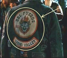 WILD HOGS MOVIE BIKER GANG LEATHER JACKET BACK 2-PATCH: DEL FUEGOS CHINO VALLEY