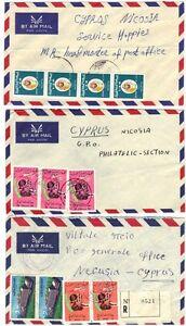LIBYA PALESTINE 1970 3 CVRS SENT TO THE OCCUPIED W BEST VIA CYPRUS FROM BENGHAZI