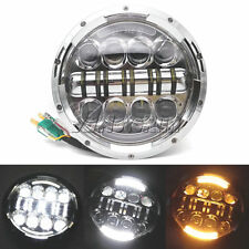 "7"" LED Chrome Projector Headlight DRL Light For Harley Electra Glide"