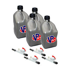 4 Pack VP Racing Silver 5 Gallon Square Fuel Jug/ 4 Shut Off Hoses/Water/Gas Can