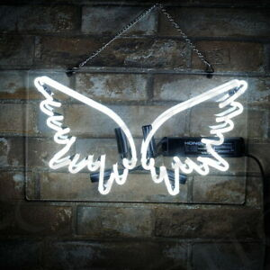 Wing Neon Sign Store Eye-catching Party Gift Wall Bar Real Glass Pub 14'x8''