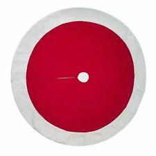 "Felt Fabric Christmas Tree Skirt Red White Trim 48"" Round Wondershop Target NWT"