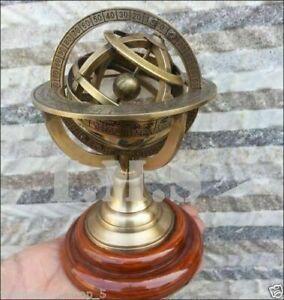 "5"" Vintage Maritime Brass Armillary Globe Sphere Wooden Base"