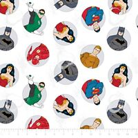 DC comics Justice League Activated Badges White 100% Cotton fabric by the yard