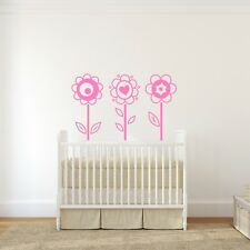 Flowers Wall Sticker - Set of Large Flowers Wall Decals - Flower Doodle Wall Art