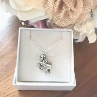 Necklace Silver plated with tibetan silver Unicorn charm - Ideal Birthday gift