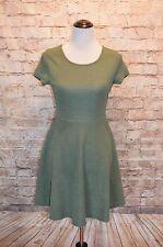 Modcloth Alythea Olive Moss Green Knit A-line dress NWT M textured skater Sheen