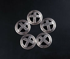 3.1cm 10pcs Western Cowboy Punk Antique Silver Cross Engraved Conchos Stud Rivet