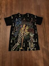 Christian Audigier Vintage Celebrate Life Tee Shirt With Rhinestones Large