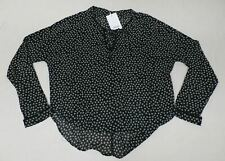 Sweewe Women's Jane Lace UP Printed Blouse Black TW4 Size M/L NWT