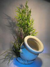 AQUARIUM ORNAMENT FISH TANK DECORATION STONE JUG BUBBLER AIR DIFFUSER + PLANT