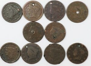 Lot of (10) Holed Early US Copper Large Cents 1C - Ten Coins Total