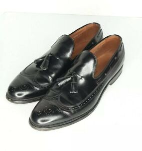 Allen Edmonds Berwick Tassle Wingtip Loafer Slip-on Black Leather Sz 10.5