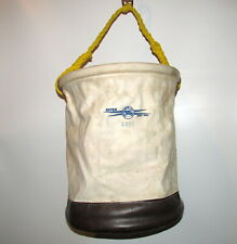Estex 2069 Canvas Leather Tool Bucket Work Bag Poly Rope Handle Snap Clip 12X15