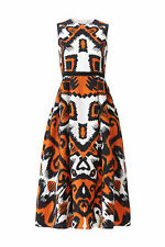 L.K. Bennett Women's Dress Orange White Size 2 Aztec Printed Pleated $565- #067