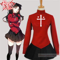 Fate Stay Night COS Rin Tohsaka Cosplay Costume Set With Free Hair Accessory