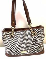 LIZ CLAIBORNE Black White Brown Zebra Animal Print Satchel Shoulder Large Bag