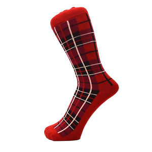 Fashion Ankle Everyday Scottish Red Tartan Design Men's Socks Size 6 to 11