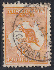 Australia: 1913 Kangaroo 4d Orange-Yellow 1st Watermark, fine used, Victoria