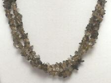 "*Authentic* Smoky Quartz Chip Bead Crystal 34"" Necklace #64"