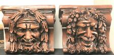 Medieval Bacchus Comedy And Tragedy Corbels Antique Reproduction Pair - Plaster