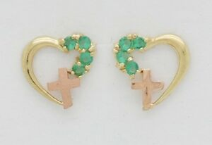 10K Solid Yellow Gold CZ Heart and Cross Earrings [5 Colors]