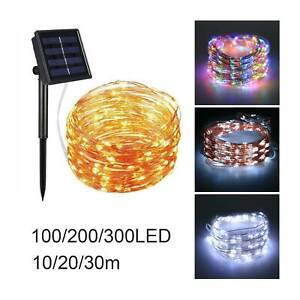 10/20/30m LED Solar String Lights Waterproof Copper Wire Outdoor Garden Party UK