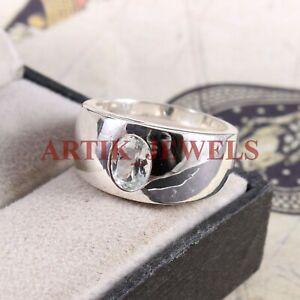 Natürlich Aquamarin Edelstein Mit 925 Sterlingsilber Ring für Herren #2755