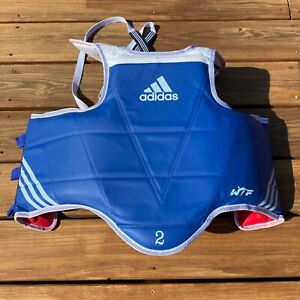 Adidas Blue Taekwondo Reversible Chest Guard Protector WTF Approved Size 2 Small